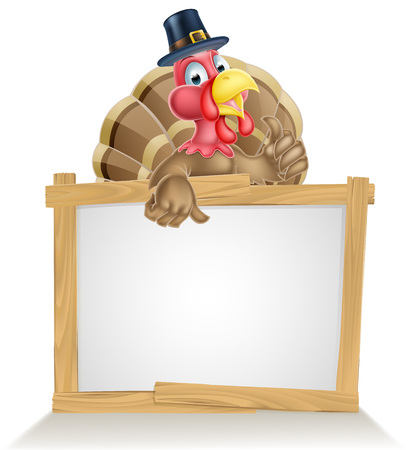Thanksgiving sign with cartoon turkey bird wearing a pilgrim or puritan thanksgiving hat  イラスト・ベクター素材