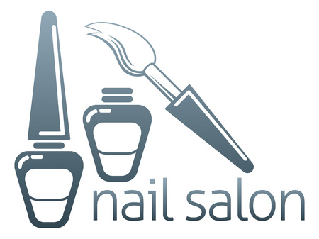 An illustration of bottles of nail varnish and brush, nail salon concept
