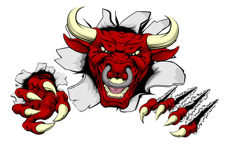 An illustration of a tough looking red bull animal sports mascot or character breaking through