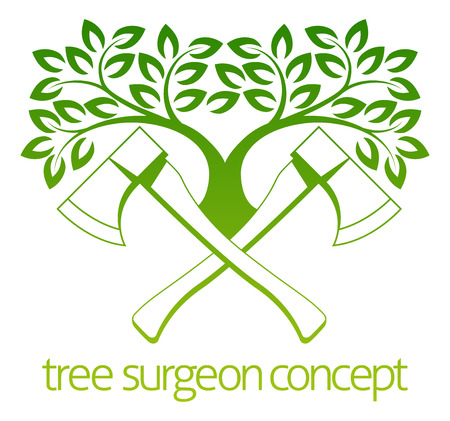 A crossed axes and tree Tree Surgeon or gardener concept design Illustration