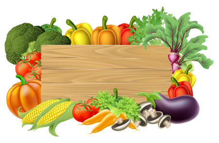 A wooden vegetables sign background surrounded by a border of fresh fruit and vegetables food produce Vectores