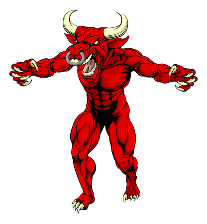 An aggressive tough mean red bull sports mascot character with claws out