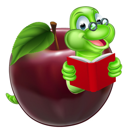 A happy cute cartoon caterpillar bookworm worm or caterpillar reading a book and coming out of an apple and wearing glasses Illustration