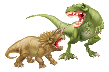 T Rex Versus Triceratops illustration with a tyrannosaurs rex attacking a triceratops dinosaur