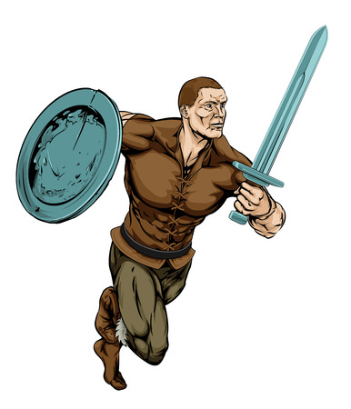 An illustration of a tough looking Warrior running with sword and shield Illustration