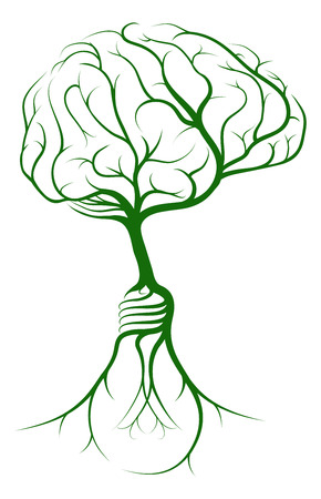 A brain shaped tree growing from lightbulb shaped roots