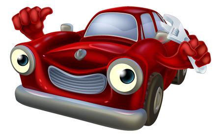 Personnage de dessin animé de voiture tenant une clé et de donner un coup de pouce, réparation automobile mécanicien de garage