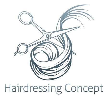 Ilustracja z parą fryzjera nożyczkami strzyżenia włosów Ilustracje wektorowe