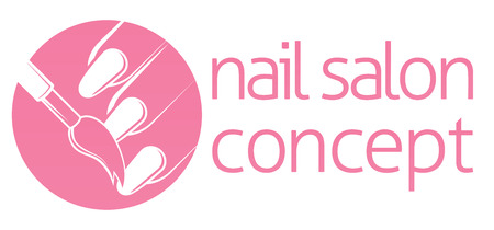 Nail bar, nail technician or salon manicurist concept of a nail being painted with a brush Illustration