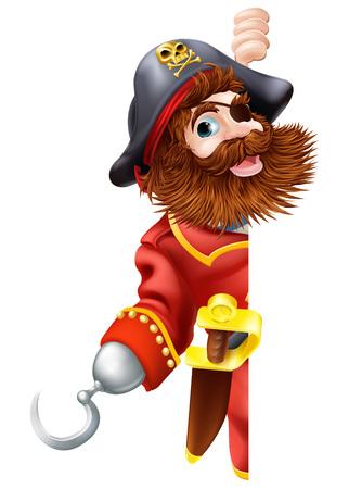 Piraten-Cartoon-Figur mit Klinge und Haken schaut sich um ein Zeichen