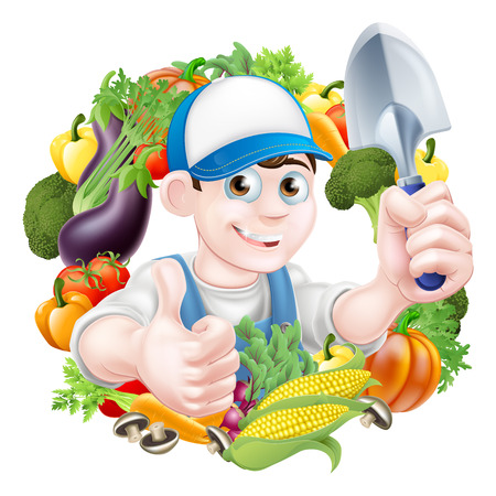 Gardener in a cap holding a garden trowel tool and giving a thumbs up surrounded by fresh vegetable produce