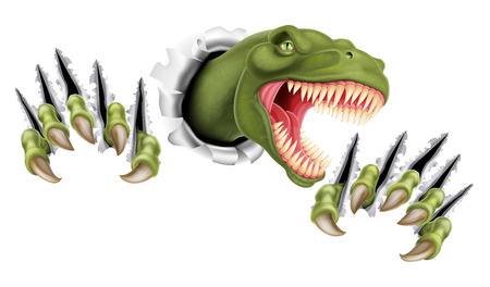 A Tyrannosaurus Rex T Rex dinosaur scratching, ripping and tearing out of the background with its claws Illustration