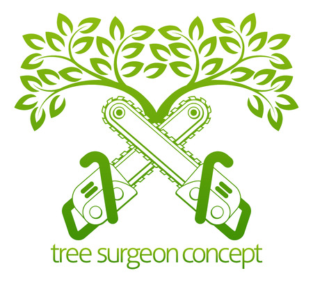 A crossed chainsaws and tree Tree Surgeon or gardener concept design 일러스트