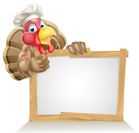 A Christmas or Thanksgiving turkey character wearing a chef or cook hat giving a thumbs up above a sign