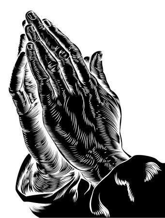 Een illustratie van het bidden handen geïnspireerd door Albrecht Dürer en 1508 onderzoek