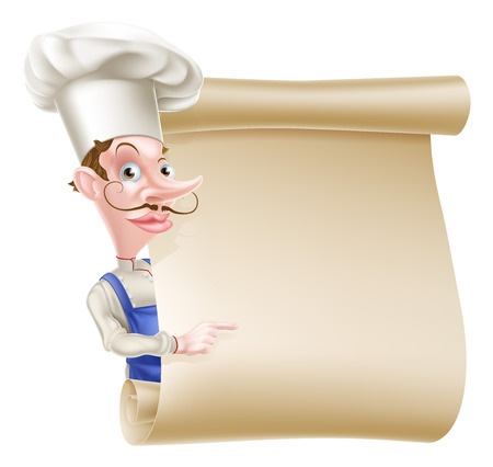 An illustration of a cartoon chef peeking round a scroll sign and pointing
