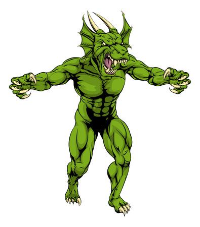 Un caractère vert moyen dure agressive de mascotte de sports de dragon avec griffes dehors Banque d'images - 43228239