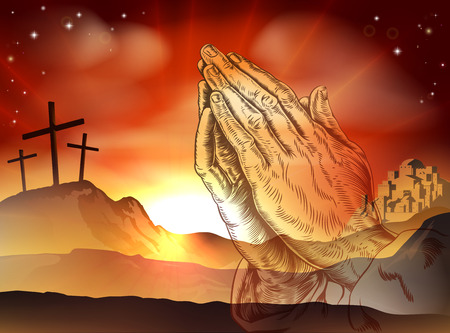 갈보리 언덕에 십자가와기도하는 손의 기독교 부활절 개념
