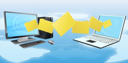 teléfono de la computadora de transferencia de archivos de sincronización concepto de archivos o carpetas que se mueven entre un ordenador de sobremesa y portátiles Ilustración de vector