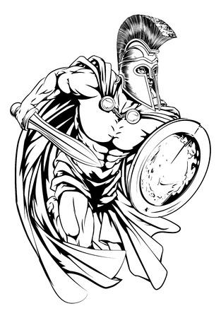 Een illustratie van een krijger karakter of sport mascotte in een trojan of Spartaanse stijl helm met een zwaard en schild