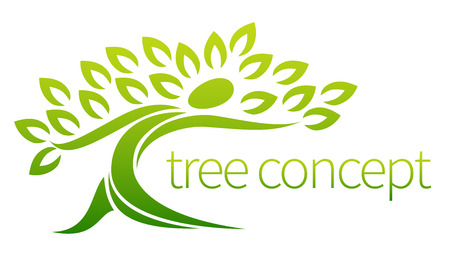 Tree person icon, a tree in the shape of a person with leaves, lends itself to being used with text Stock Illustratie