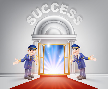 Success Door concept of a doormen holding open a red carpet entrance to success with light streaming through it.