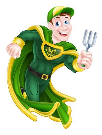 A cartoonof a  hero gardener character holding a garden fork tool