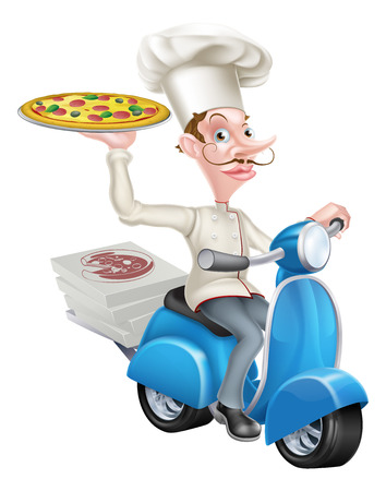 A cartoon chef from a pizzeria delivering pizza on his moped Stock Illustratie
