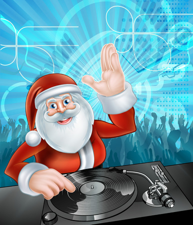 Santa Claus cartoon Christmas party DJ with at the record decks with dancing crowd in the background