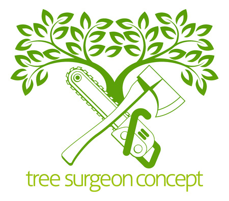 A crossed axe and chainsaw and tree Tree Surgeon or gardener concept design Vetores