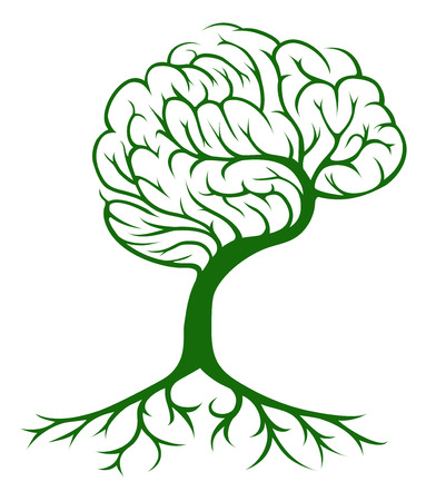 脳成長する人間の脳の形をした木のツリーの概念。アイデアやインスピレーションを得るのためのコンセプトができます。  イラスト・ベクター素材