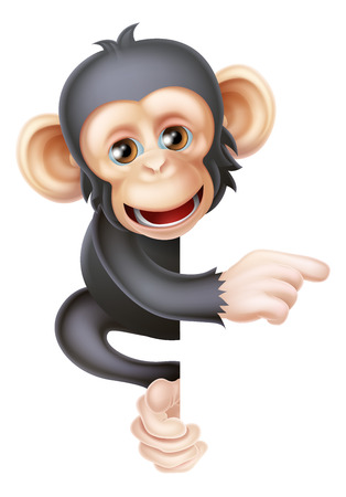 Cartoon chimp monkey like character mascot peeking around a sign and pointing at it