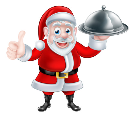 Cartoon Santa Claus holding a plate of food giving a thumbs up