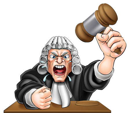 An illustration of an angry judge cartoon character with fist and wooden gavel Stok Fotoğraf - 43872405