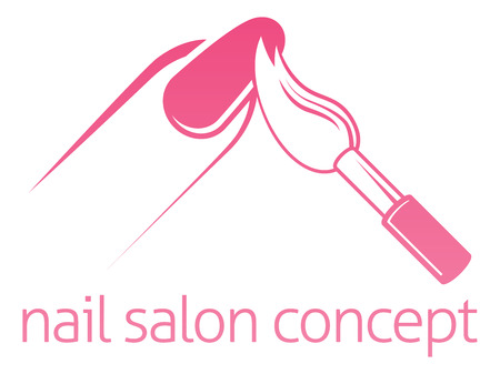 Nail salon technician, nail bar or manicurist concept of a nail being painted with a brush