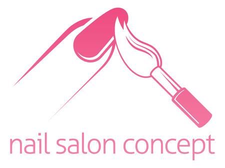 Nagelsalon technicus, nagelstudio of manicure concept van een nagel wordt geschilderd met een borstel