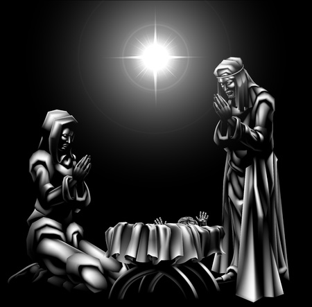마리아와 요셉과 별 아래 아기 예수의 탄생 장면 전통적인 기독교 크리스마스 장면 일러스트