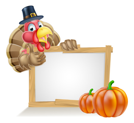 Thanksgiving sign with cartoon turkey bird wearing a pilgrim or puritan thanksgiving hat with pumpkins