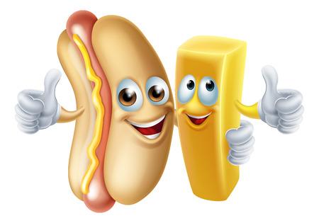 Cartoon hotdog and potato chip french fry mascots