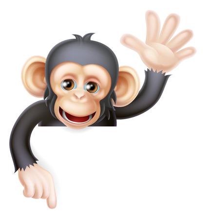 Cartoon chimp monkey like character mascot peeking above a sign waving and pointing down