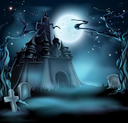 Halloween kasteel kerkhof achtergrond met een griezelig spookhuis kasteel, bomen en graven en een volle maan