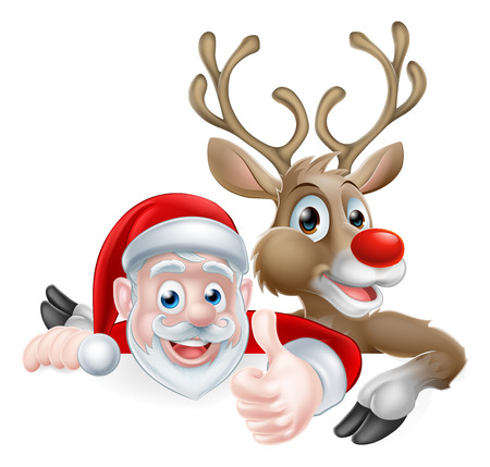 Cartoon Santa and reindeer peeking above sign and giving athumbs up Christmas cartoon