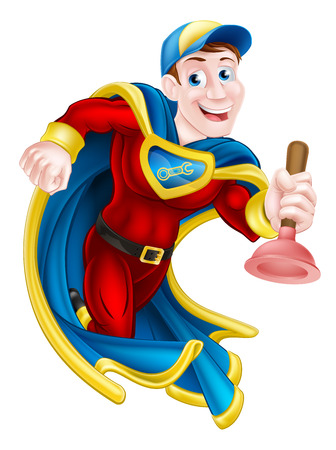 Illustration of a janitor or plumber superhero mascot holding a plunger