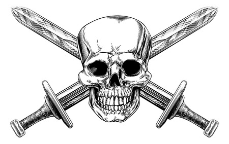 Human skull and two crossed swords pirate style sign in a vintage woodblock style