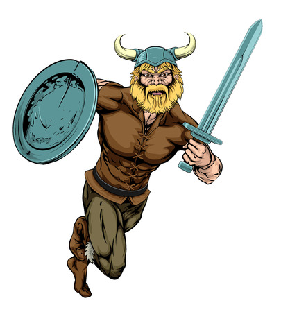 An illustration of a tough looking Viking Warrior mascot running with sword and shield