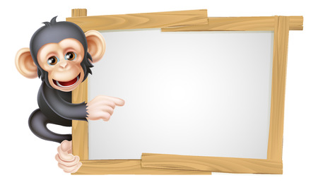 Cute cartoon chimp monkey like character mascot peeking around a sign and pointing at it Illustration
