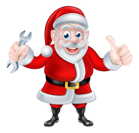 Christmas cartoon Santa Claus holding mechanic or plumber spanner and giving a thumbs up Illustration