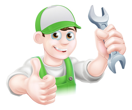 Cartoon Plumber or mechanic with a wrench or spanner in green dungarees giving a thumbs up Ilustração