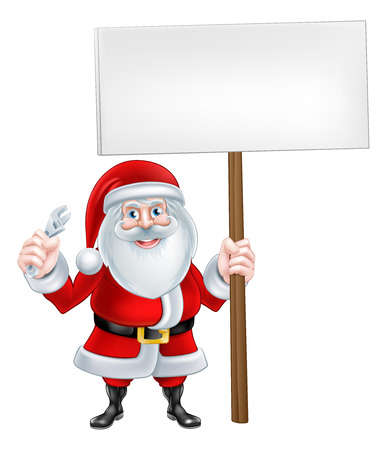 A Christmas cartoon of Santa Claus holding a wrench tool and sign