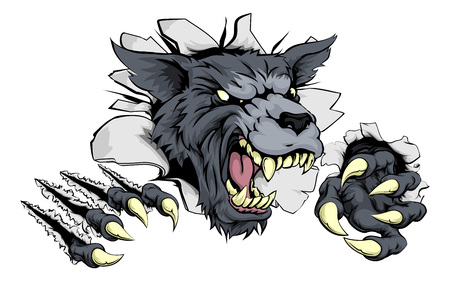 A scary wolf mascot ripping through the background with sharp claws Vectores